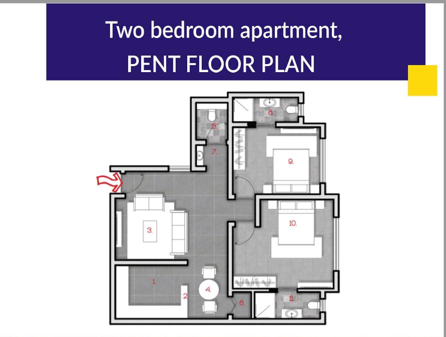 2 Bedroom Penthouse Floor Plan